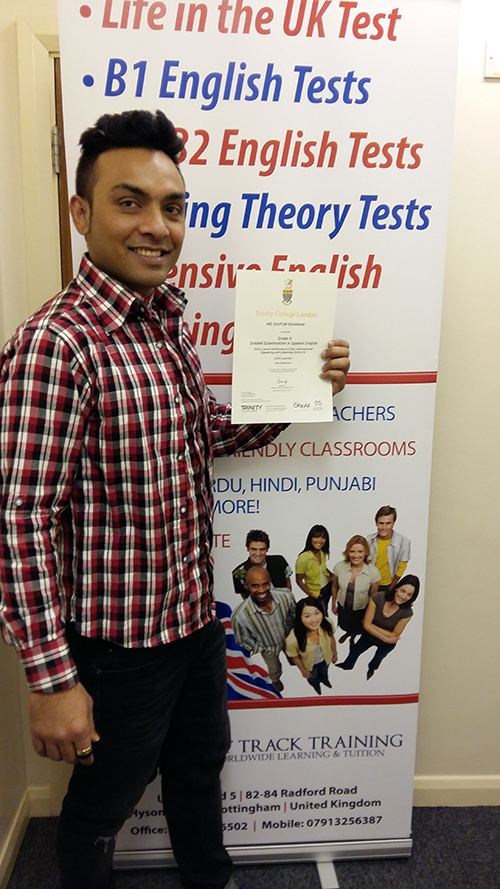 A student passing their B1 English test 2017