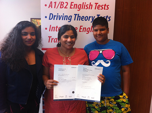 A b1 student passing their exams with family 2017
