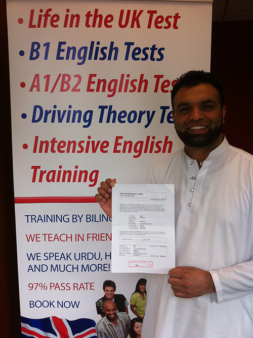 Passed her Life in the UK test exam with us in 2019