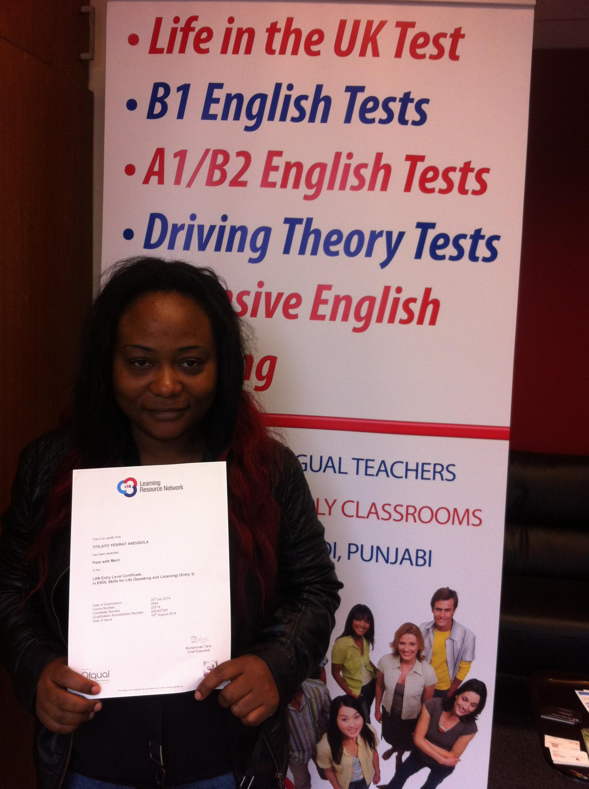 Passed her b1 English citizenship exam 2016
