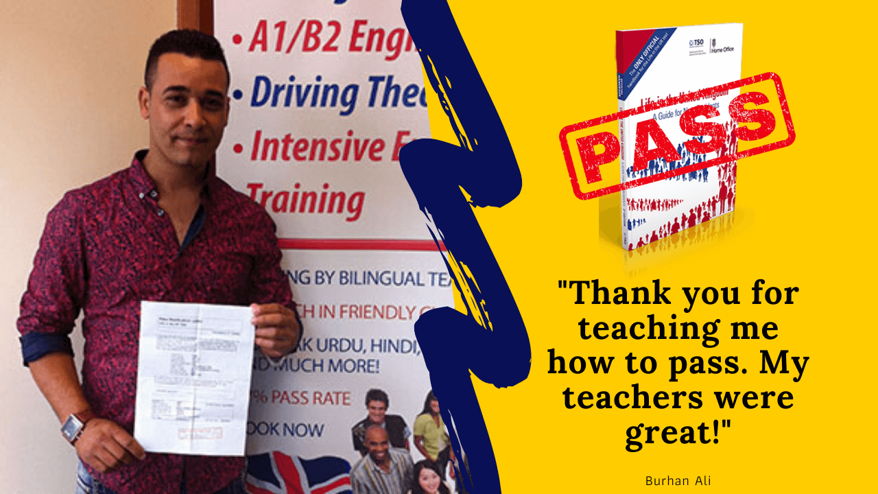 Burhan Ali has passed his life in the Uk test using his 3rd edition book