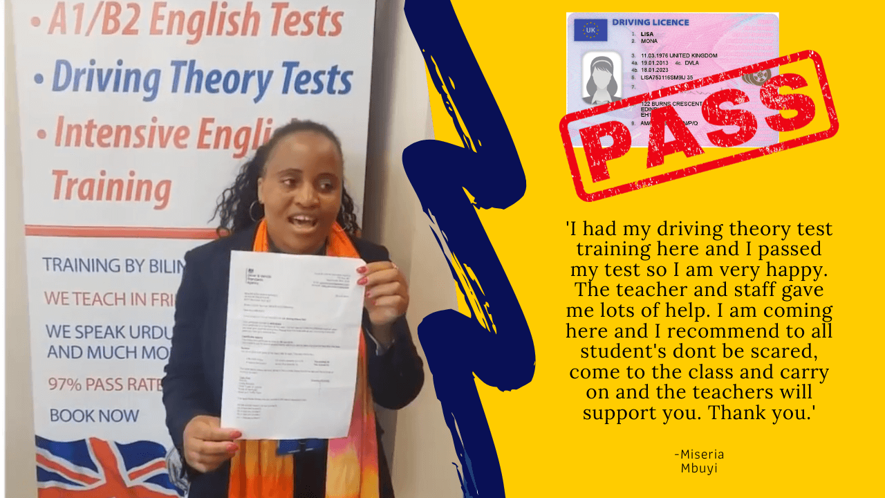 Maria Mbuyi passes her driving theory test in the UK