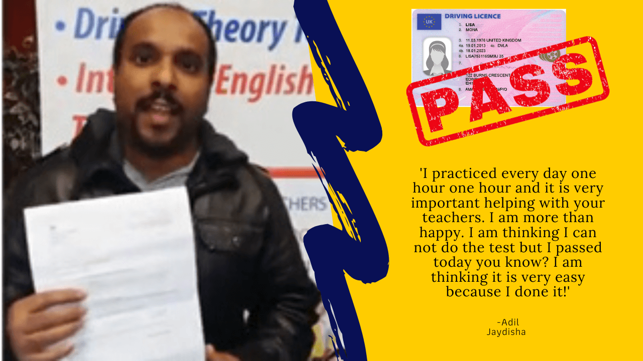 driving theory test practice student passes exam first time Adil Jaydisha