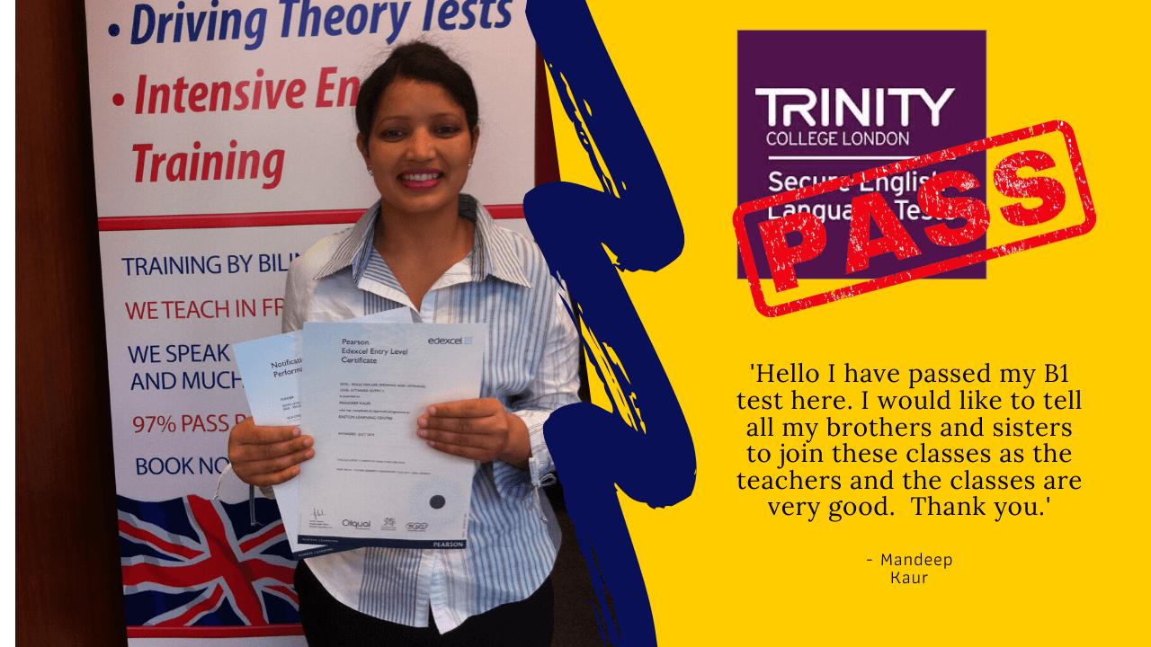 Mandeep Kaur ppasses her british citizenship exams