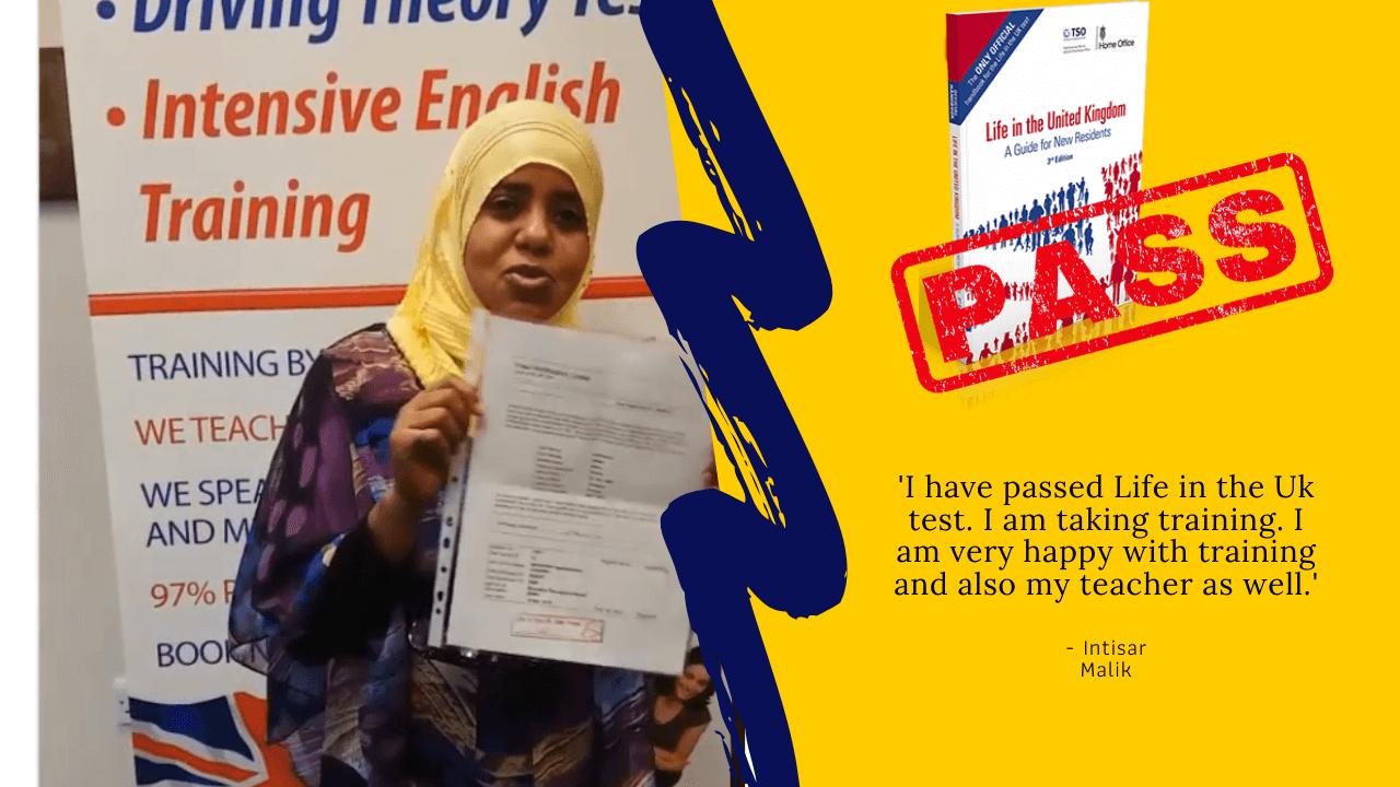 Intisar Malik has passed her exam
