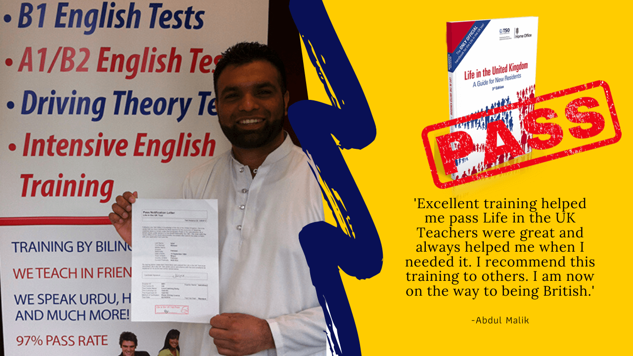 Abdul Malik has passed his exam for british citizenship