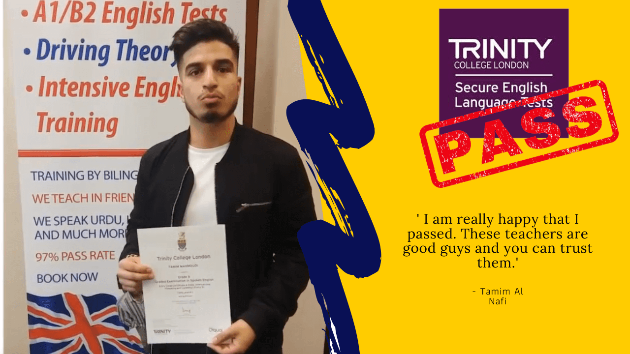 Tamim Al Nafi has passed his Exam with Trinity College London