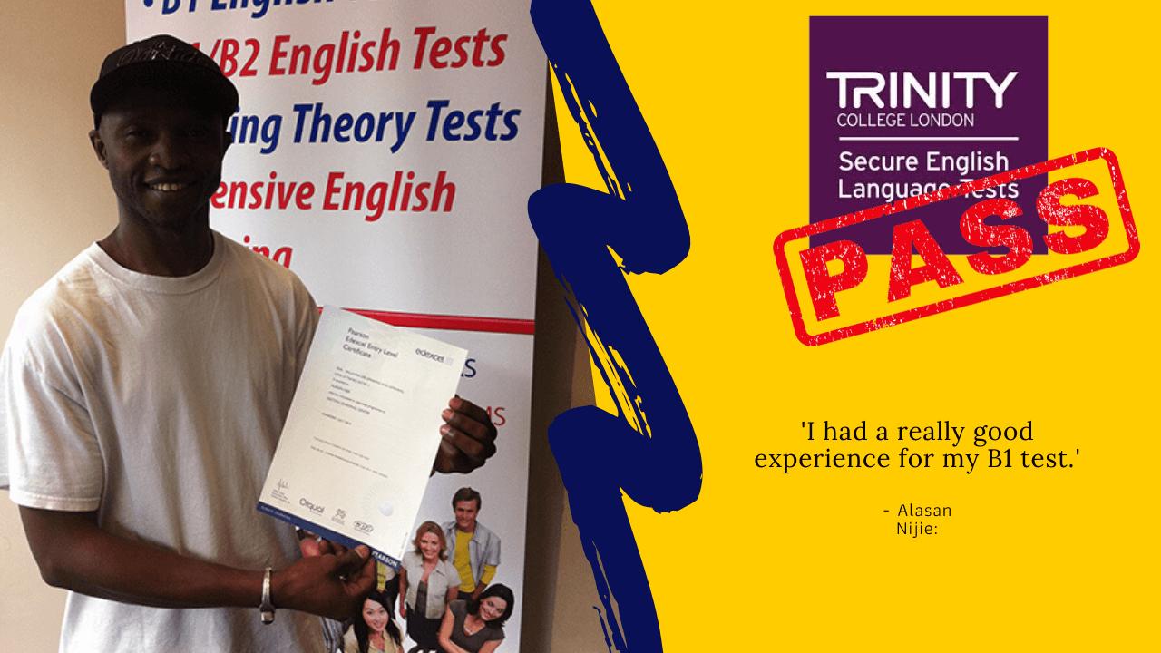 Alisan Nije passed his exam for british citizenship
