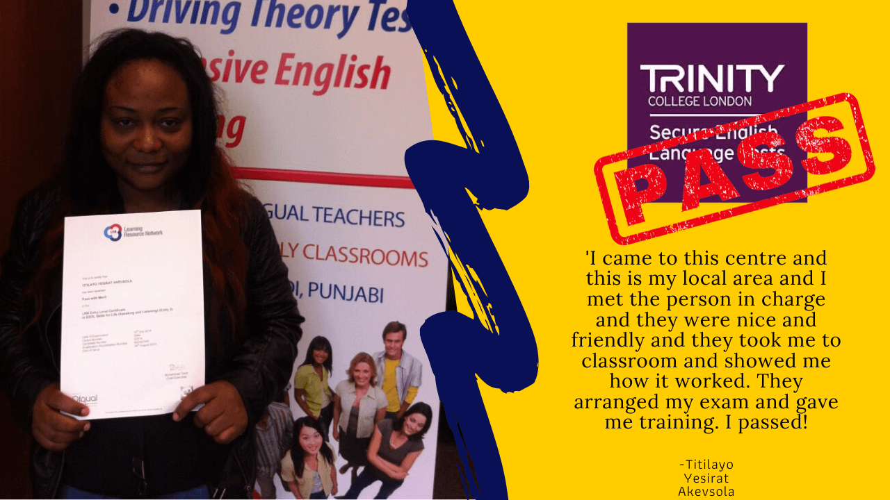 Titilayo Yesirat Akeysivola has passed her b1 english test