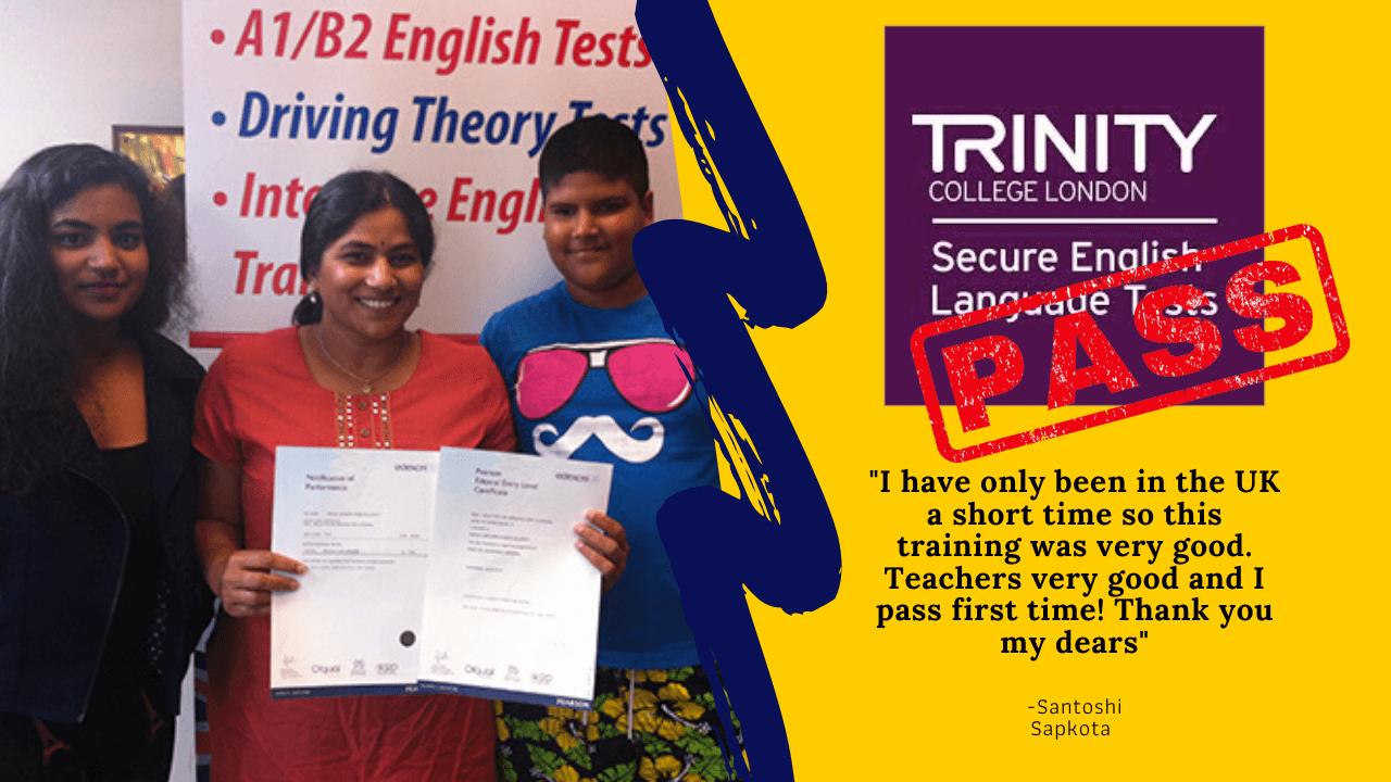Santoshi Sapkota B1 English test student has passed