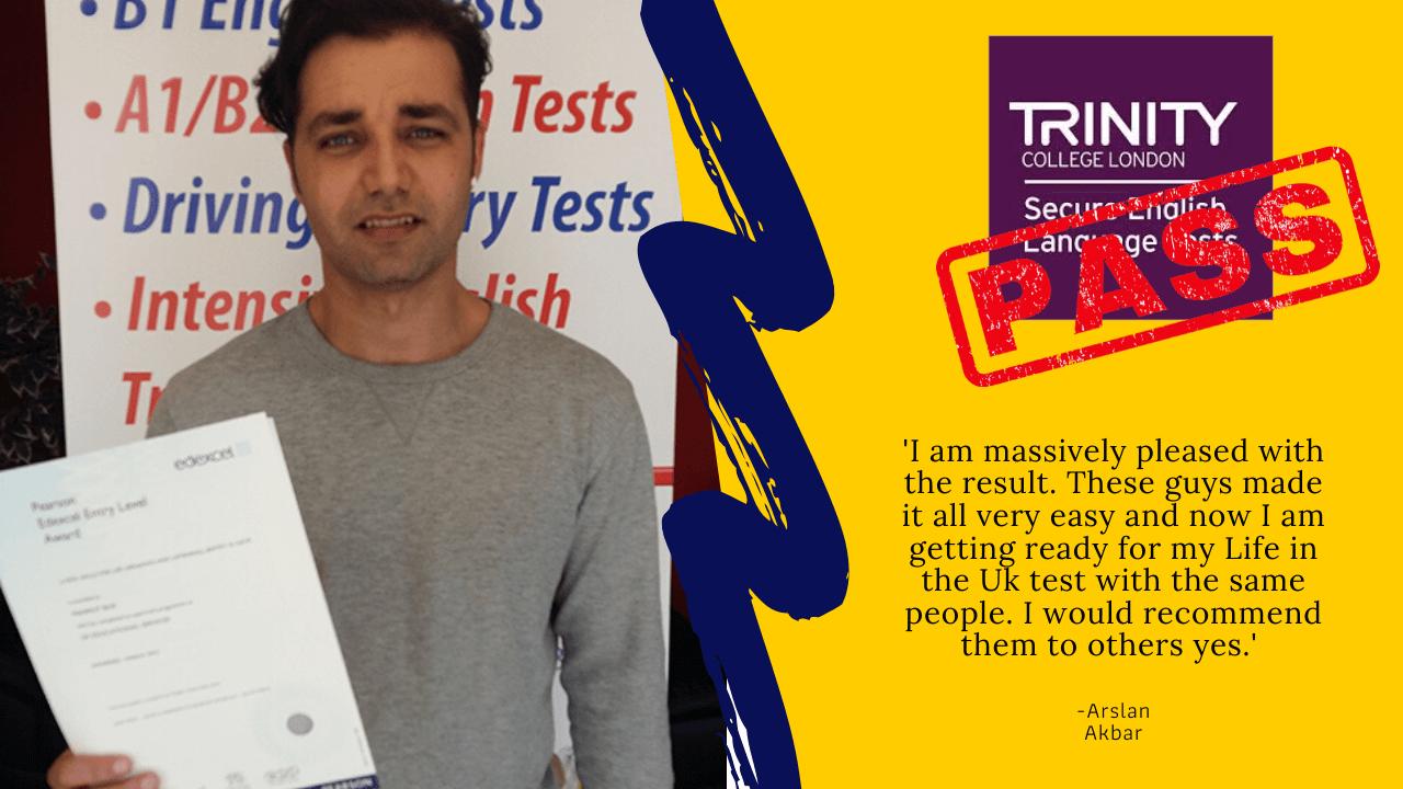 Arsla Akbar has passed his exam for citizenship