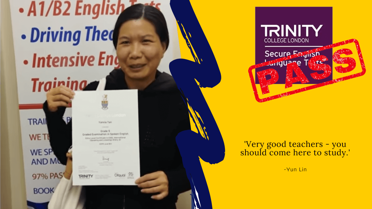 Yun Lin has passed her b1 English test