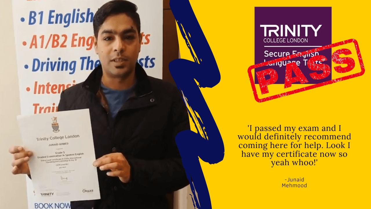 Junaid Mehmood has passed their b1 english test