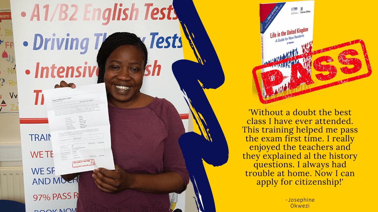 Josephine Okwezi has passed her life in the uk test with her ceritificate